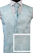 Mint Floral Jacquard Silk Wedding Waistcoat