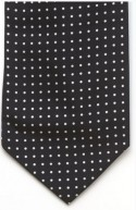 Black and White Spot Silk Self Tie Cravat