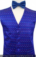 Royal Blue Multi Colour Spot Dress Waistcoat