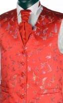 Red Butterfly Pattern Dress Waistcoat