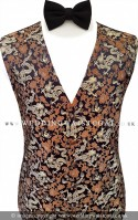 Gold, Bronze and Black Dragon Pattern Dress Waistcoat