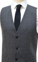 Grey Roberto London Slim Fit Pattern Wool Handle Waistcoat