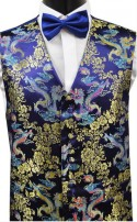 Navy, Gold & Turquoise Dragon Pattern Dress Waistcoat CLEARANCE!