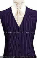 Purple and Black Pin Stripe Weave Wedding Waistcoat