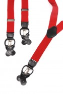 Red Mens Trouser Braces Y Shape Convertable Fasteners