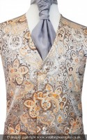 Champagne with Gold Floral Pattern Wedding Waistcoat NEW!