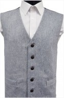 Blue Semi Plain Wool Handle Waistcoat