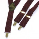 Wine Colour and White Spot  Mens Trouser Braces Y Shape