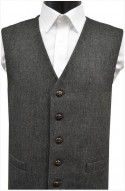 Black/Grey Fine Herringbone Wool Handle Waistcoat
