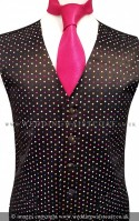 Black Multi Colour Spot Dress Waistcoat