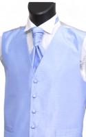 Sky Blue Shantung Weave Wedding Waistcoat