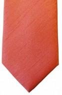 Coral Shantung Weave Necktie - Mens and Page Boys