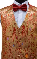 Red and Gold Lurex Peacock Pattern Dress Waistcoat CLEARANCE ITEM
