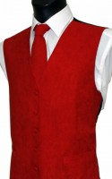 Red Plain Suede Effect Waistcoat