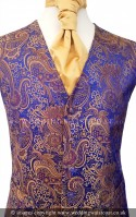 Royal Blue & Gold Floral Pattern Dress Waistcoat