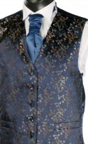Navy Blue Floral Pattern Dress Waistcoat
