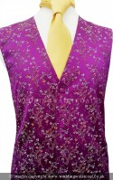 Purple Floral Pattern Dress Waistcoat