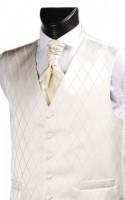 Ecru Diamond Weave Wedding Waistcoat