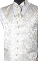 Champagne Scroll Wedding Waistcoat with Ecru Floral Embroidery