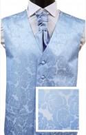 Blue Floral Jacquard SILK Waistcoat
