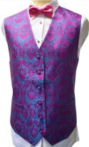 Stunning Pink Paisley Pattern Dress Waistcoat NEW!