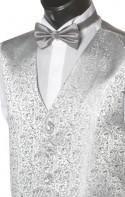 Silver Grey Fine Pattern Dress Waistcoat