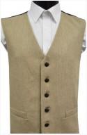 Beige Semi Plain Wool Handle Waistcoat