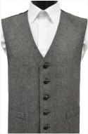 Black/Grey Herringbone Wool Handle Waistcoat