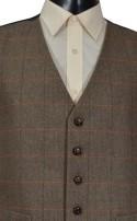 Brown Herringbone Check Waistcoat