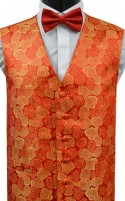 Red & Gold Floral Jacquard Pattern Dress Waistcoat