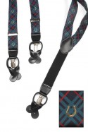 Horse Shoes Navy and Green Trouser Braces Y Shape Convertible Fasteners