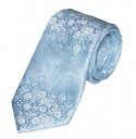 Pale Blue Floral Pattern Embroidered Neck Tie