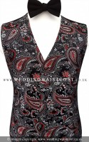 Black, Red & Silver Paisley Pattern Dress Waistcoat