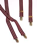 Wine Colour and White Stripe Mens Trouser Braces Narrow X Shape