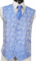 Royal Blue Brocade Pattern Wedding Waistcoat NEW!
