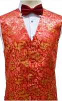 Red and Gold Dragon Pattern Dress Waistcoat