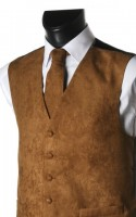 Light Brown Plain Suede Effect Waistcoat