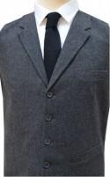 Dark Grey Tailored Fit Wool Handle Waistcoat