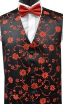 Black & Red Floral Pattern Dress Waistcoat CLEARANCE ITEM!