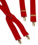 Red Mens Trouser Braces X Shape