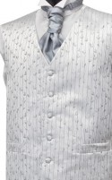 Grey Leaf Pattern Wedding Waistcoat