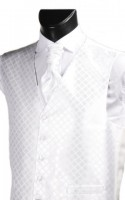 White Diamond Weave Wedding Waistcoat