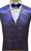 Blue Floral Pattern Dress Waistcoat NEW!