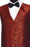 Red Swirl Pattern on Black Party Waistcoat
