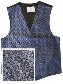 Navy Blue Waistcoat with silver and blue floral pattern - New for 2017!