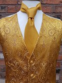 Gold Pattern Luxury Embroidered Dress Waistcoat