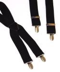 Black Mens Trouser Braces X Shape