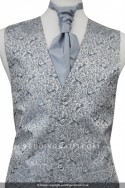 New For 2017! Stunning Silver Grey Waistcoat with subtle peacock embroidery