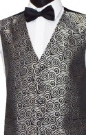 Silver Embroidered Swirl Pattern on Black Party Waistcoat