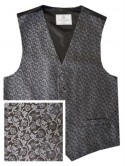 Black Waistcoat with silver floral pattern - New for 2017!
